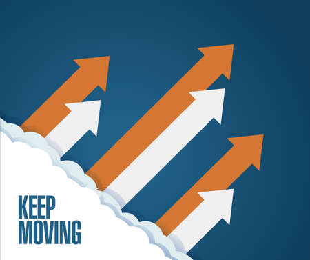 moving in: Keep moving concept. arrows moving up in the sky. illustration over a blue background