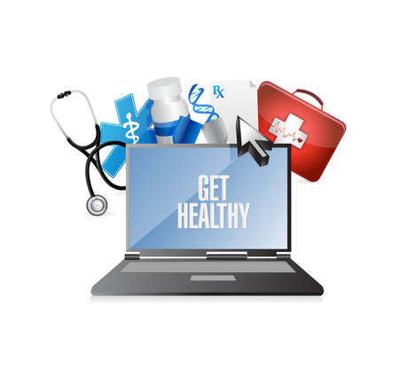 Krijg gezonde computer en medische symbolen illustratie ontwerp over wit Stockfoto