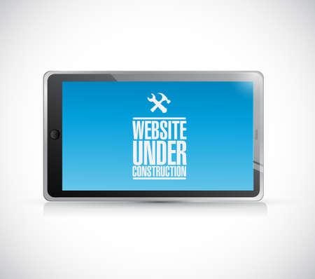Website im Bau bearbeitet Tablettenzeichenkonzeptillustrations-Designgraphik Standard-Bild - 83532818