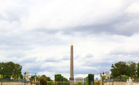 Obelisk of Luxor and arc de triomphe in Paris, France. Editorial