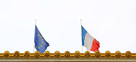 Close-up of French and EU flags. Union