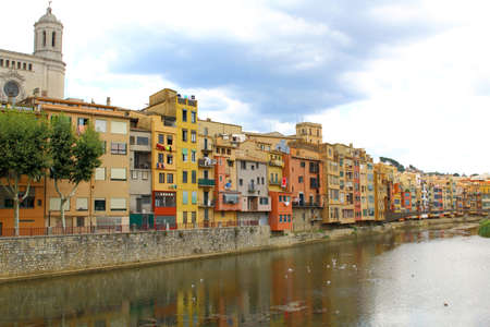 Colorful houses in Girona in beautiful summer day, Catalonia, Spain
