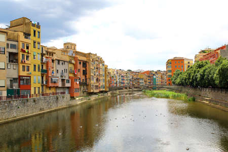 Onyar River in Girona, in Spain, and colorful houses of the Old Town. Catalonia.