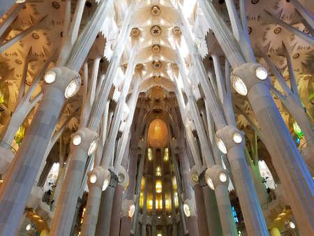Barcelona, July 2017: Sagrada Familia Cathedral in Barcelona, Spain. Gaudi temple.