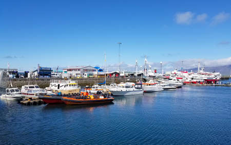 Boats in the harbour of Reykjavik, Iceland. Summer Season. Editorial