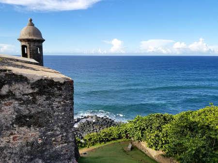 San Juan, Puerto Rico historic Fort San Felipe Del Morro.  Puerto Rico 스톡 콘텐츠