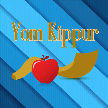 Jewish holiday card horn and apple isolated over a blue lines background 矢量图像
