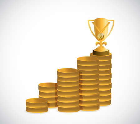 Trophy coin graph chart illustration design graphic isolated over white background.