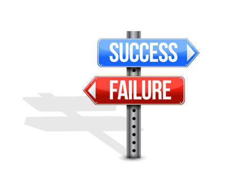 Success and failure street sign illustration design graphic isolated over white