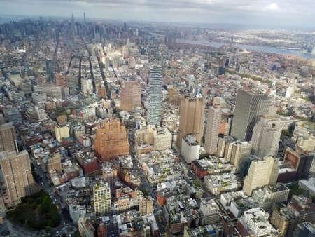 La ville de New York. Belle vue aérienne de Manhattan. Soleil sur les bâtiments. World Trade Centre à Manhattan.