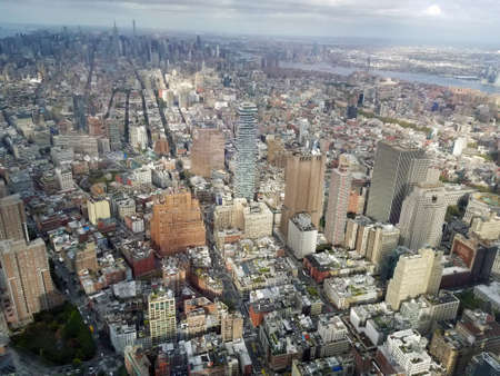New York City. Beautiful aerial view of Manhattan. Sun over buildings. World Trade Center in Manhattan.