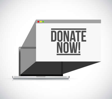 donate now online laptop computer illustration design over a white background
