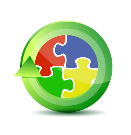 multicolored puzzle pieces cycle illustration design over a white background