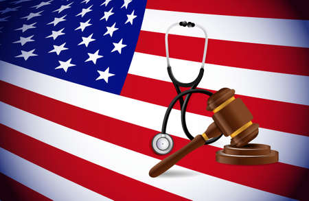 Medical law in the US. stethoscope law hammer and american flag illustration
