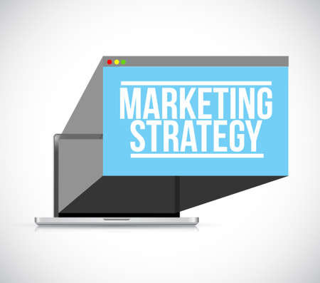 Marketing strategy laptop computer illustration design over a white background