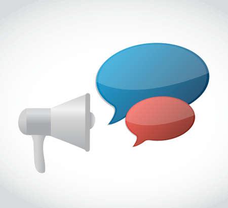 loudspeaker message bubble concept illustration design over a white background