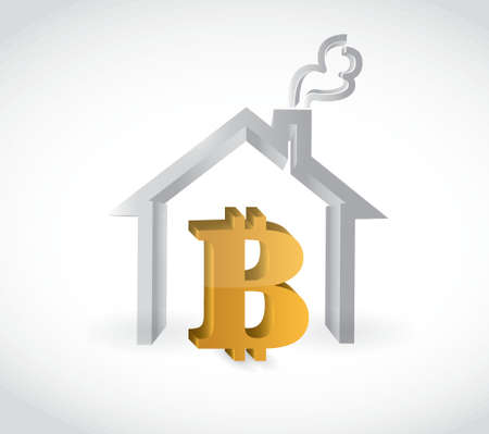 bitcoin real estate purchase concept illustration design over a white background Vettoriali