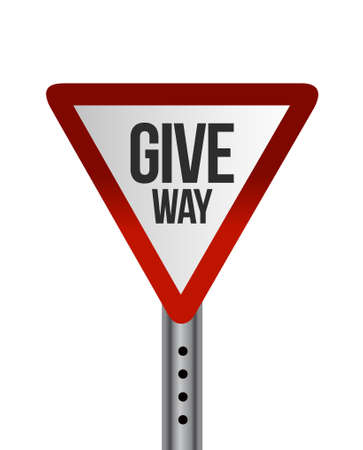 Give way street sign concept illustration design over a white background
