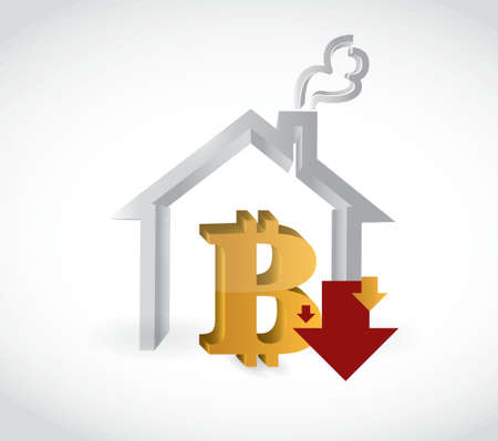 bitcoin real estate purchase prices falling concept illustration design over a white background Illustration