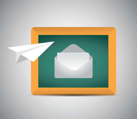 contact us air paper mail plane concept illustration design over a grey background 版權商用圖片