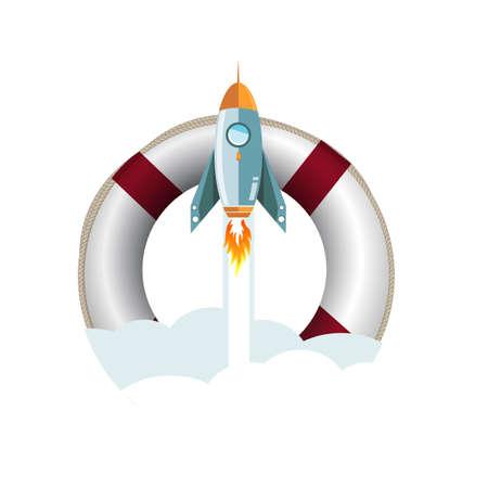 sos lifebuoy flying rocket help concept illustration design over a white background