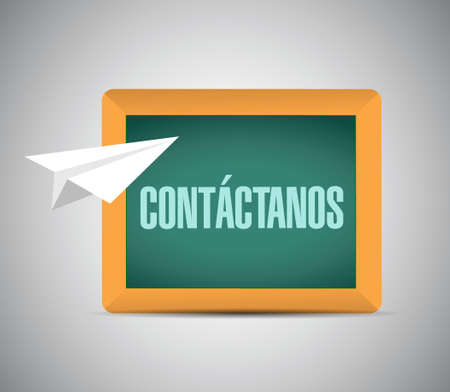 contact us paper plane sign in Spanish on a blackboard