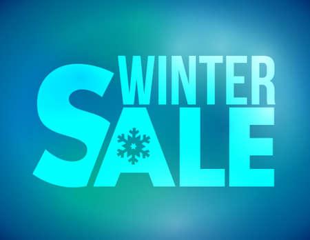 Winter sale blue illustration design over a blue background  イラスト・ベクター素材