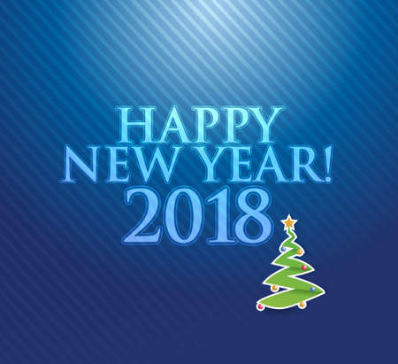 Happy New Year 2018 holiday blue card illustration design graphic