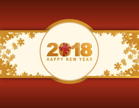2018 Happy New Year red winter card illustration design