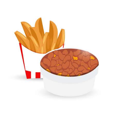 potato wedges and chili and cheese illustration design isolated over a white background Stock Photo