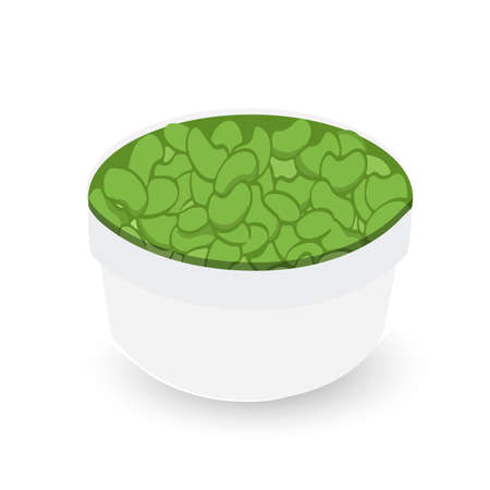 green beans on a bowl illustration design over white Stock Photo