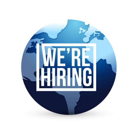 we are hiring international globe sign concept illustration design isolated over white Stock Photo