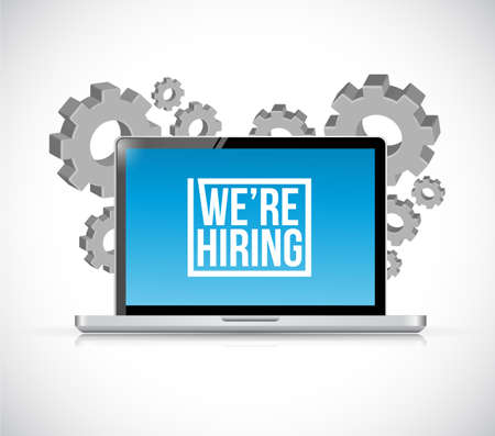 we are hiring laptop sign concept illustration design isolated over white
