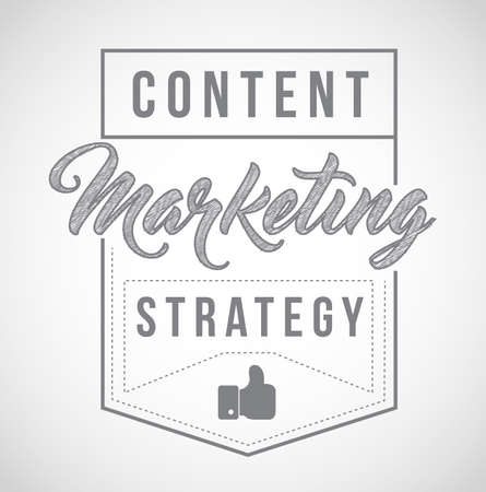 Content marketing strategy sign stamp seal illustration design, isolared over a white background
