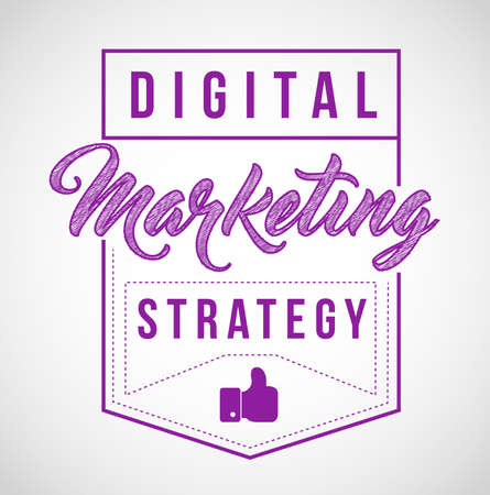 Digital marketing strategy sign stamp seal illustration design, isolared over a white background Illustration