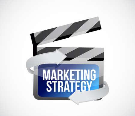 마케팅 전략 영화 클립 개념 그림 디자인 흰색 배경 위에 절연