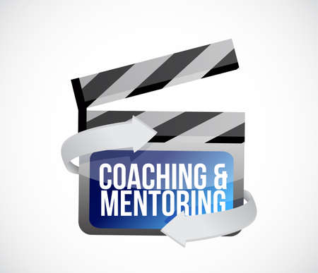 Coaching and mentoring clip sign concept illustration design over a white background