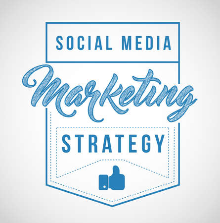 Social media marketing strategy sign stamp seal illustration design graphic over white