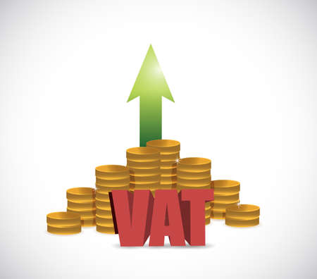 VAT (Value Added Tax) on stacks of gold coins on a white background. illustration design graphic Vectores