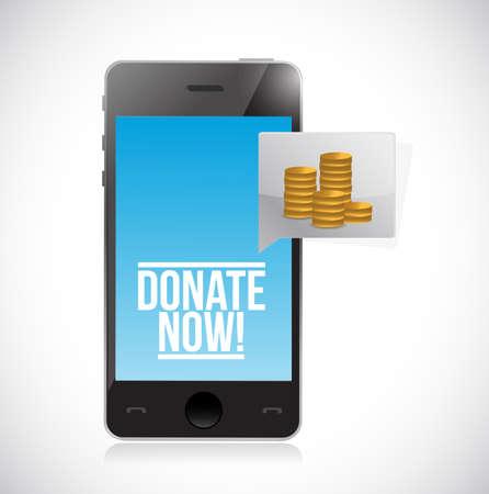 Faire un don à une association caritative à l'aide de la conception d'illustration de concept de smartphone