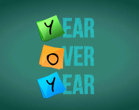 yoy year over year sign concept illustration design over a chalkboard