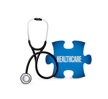Medical concept with stethoscope,piece of puzzle with HEALTH CARE conceptual text. illustration design