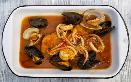 PERUVIAN FOOD: Lunch Picante de Mariscos. fish peruvian dish