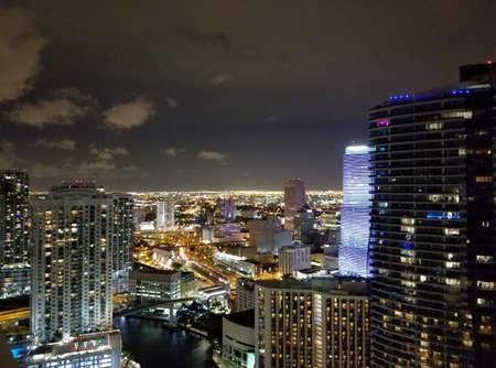 Miami Brickell Bay at midnight. City lights in Miami, Florida.