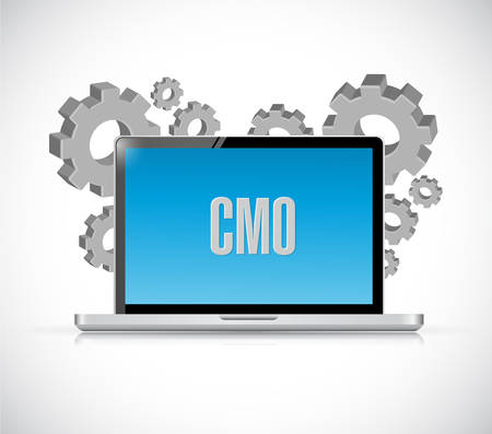 CMO sign on a computer screen. Illustration design graphic.