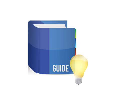 Blue guide book with idea bulb. Illustration design graphic.