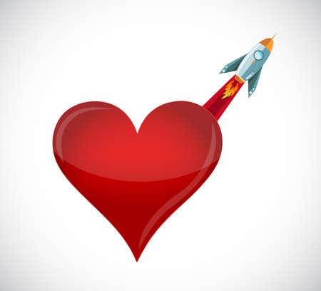 Love rocket flying high. Illustration design graphic.