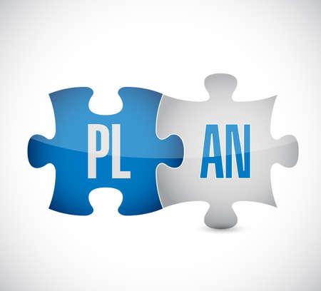 Plan puzzle shows business strategies. Illustration design graphic.
