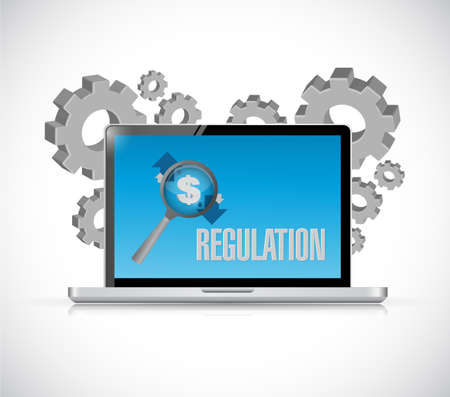 Regulation notice sign on a computer screen. Illustration design graphic.