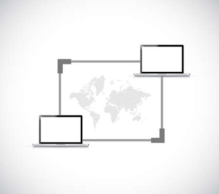 global technology connection concept network. illustration design graphic isolated over white